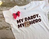 My Daddy My Hero Fire Department Girls Shirt with Bow