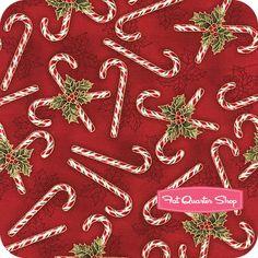 Holly Jolly Christmas Metallic Crimson Candy Canes and Holly Yardage SKU# 13649-91