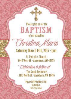 Baptism Invitation Girl Communion Girl by JustRightDesigns954