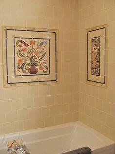 Arts & Crafts Bath Remodel: Decorative Ceramic Tile Panels