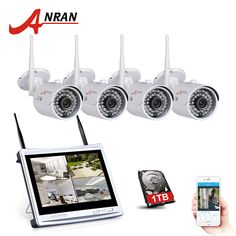 """2017 New Listing ANRAN 4CH Wifi CCTV System 12"""" LCD NVR Kit P2P 720P HD IR Night Vision IP Camera Outdoor Security Camera System #Affiliate"""