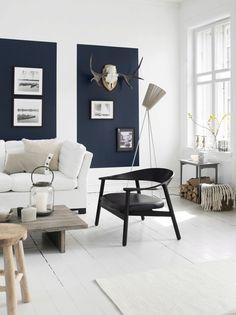 Voor als je niet de hele muur wilt schilderen: Eén of meerdere gekleurde vlakken achter de tv en/of muurdecoratie.