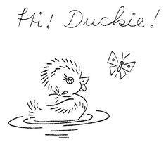 cute vintage duck embroidery pattern
