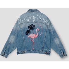 FLAMINGO DENIM JACKET ($45) ❤ liked on Polyvore featuring outerwear, jackets, jean jacket, blue jean jacket, pull&bear jacket, blue jackets and denim jacket