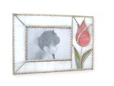 Photo Frame Pink Stained Glass Tulip Flower  4 x 6 4x6  Handmade OOAK