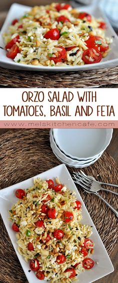 A perfect way to use up those garden fresh tomatoes, this orzo salad with tomatoes, basil. and feta is packed with flavor.