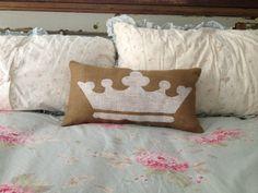 Burlap Crown Pillow Lumbar Crown Pillow by TwoPeachesDesign, $30.00