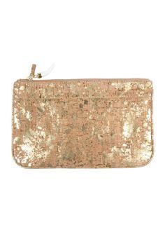Gold Splattered Cork Clutch