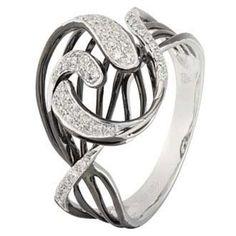 0.16 Carat Diamond 14K White Gold Women Rings 3.11g