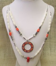 Necklace Double Strand Bone and Silver Color Beads with Coral Beads and Focal