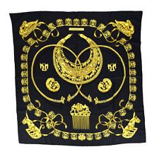 Authentic HERMES Logos Scarf Handkerchief 100% Silk Black France Vintage 01Z576