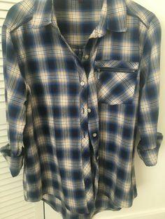 Next Women's / Girls Blue Long sleeved Check Shirt / Top Size 6 Blue Short Sleeve Tops, Long Sleeve Shirts, Collared Shirt Dress, Tunic Blouse, Navy Blue Shirts, Nightgowns For Women, How To Roll Sleeves, Check Shirt, Mandarin Collar