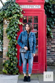 Have a double denim mindset when picking your layers this season. We love how blogger Reem Kanj wears her Gap denim jacket and jeans for a day around London. Shop all denim favorites for spring.