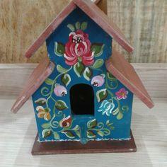Casa de passarinho pintada em Bauernmalerei.