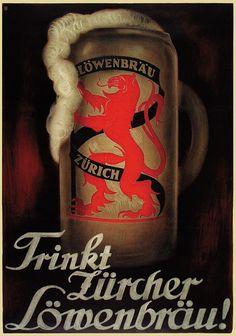Otto Baumberger, Loewenbraeu Retro Advertising, Retro Ads, Vintage Advertisements, Sous Bock, Poster Shop, Shops, Autumn Scenes, Original Vintage, Old Ads
