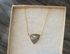 Light Catcher Triangle Necklace - Moonstone or Labradorite