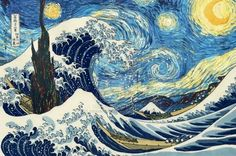 """""""There is nothing more truly artistic than to love people"""" - Vincent Van Gogh ( the painting is Starry starry night by vincent combined with a japanese painting of sea waves, Vincent always loved the Japanese art.)"""