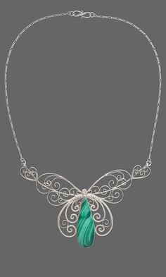 Single-Strand Necklace with Malachite Teardrop Cabochon, Sterling Silver Chain and Wirework  Love this!!!!