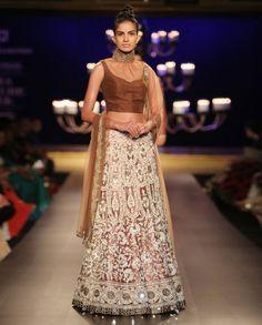 Nude Net Ivory Jaal Work Lengha - Indian Couture Week 2014 - Runway - Shop Women's