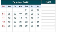 Editable October 2020 Calendar with Notes Monthly Calendar Template, 2019 Calendar, October, Notes, Printables, Report Cards, Monthly Schedule Template, Print Templates