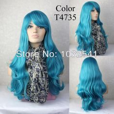 Sexy Beautiful Heat Resistant Wavy Turquoise Blue Long Cosplay Wigs Ladies' Curly Wigs color T4735 US $16.80