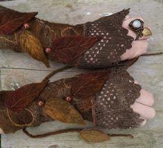 handschuhe stricken blätter herbst