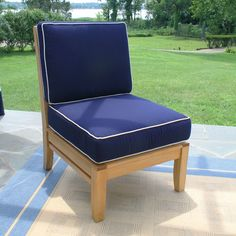 One chair - infinite possibilities. Mix and match the Calypso collection to build an outdoor seating area or lounge set to fit any space. Light Blue Couches, Navy Blue Couches, Navy Couch, Teak Outdoor Furniture, Porch Furniture, Furniture Ideas, Outdoor Sectional, Fabric Sectional, Sectional Sofa
