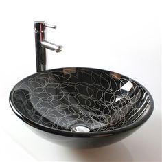 Waschbecken rund glas  Modern Waschbecken Lila Rund Glas Aufsatz Waschschale mit Wasserfall ...