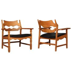 Lounge Chairs by Henning Kjærnulf Lounge Chairs, Dining Chairs, Wishbone Chair, Armchair, Mid Century, Modernism, Baroque, 1970s, Leather