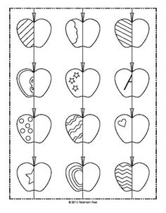 Students will enjoy coloring or painting these apples, as they are challenged with drawing the lines and shapes to practice symmetry.Includes one page of 12 tiny apples,12 pages of large apples. Enjoy!