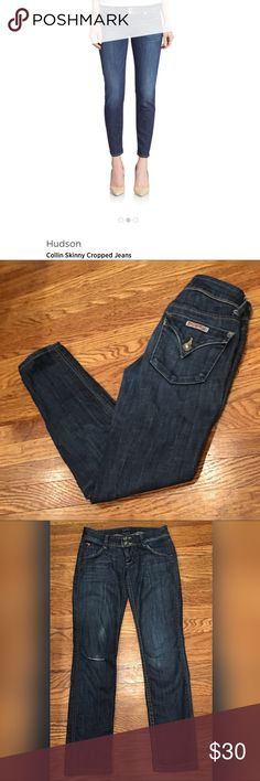 """Hudson Colin Skinny Cropped Distressed Denim Jeans Women's Hudson Colin Cropped Skinny jean in size 24 with 27"""" inseam. Distressed at the knee and super flattering, comfortable Denim. Excellent used condition! Hudson Jeans Jeans Ankle & Cropped"""