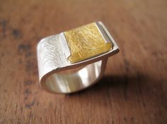 RUTIL // Sterling silver ring with natural square Rutil Quartz