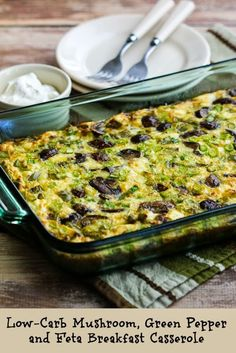 On the weekend I love to make something like this Meatless Low-Carb Mushroom, Green Pepper, and Feta Breakfast Casserole and keep in the fridge for quick and healthy breakfasts all week long. [from KalynsKitchen.com] #DeliciouslyHealthyLowCarb #GlutenFree