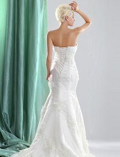 ❀ Mermaid Appliques Sweetheart Organza Wedding Dresses   Riccol ❤