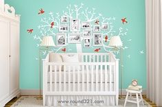 Baby Family Tree Wall Decal With Birds- Photo Tree Decal - Nursery Decor/ Playroom - Bedroom Use with Or Without Photos