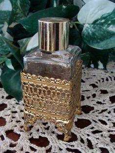 Vintage Perfume Bottle w/ Filigree Metal by TreasureTradersOfTN