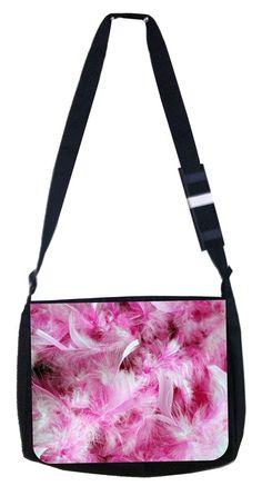 172b381d2e43 Pink and white feathers Rosie Parker Inc. TM Medium Sized Laptop Messenger  Bag 11.75