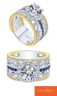 18k Yellow/White Gold Diamond and Sapphire Halo Engagement Ring by Gabriel & Co.