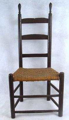 19thC Sabbath Day Lake Maine Shaker Small Ladderback Chair.