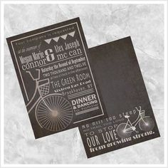 Bicycle Wedding Invitation by ImpressivePrint on Etsy, $3.95