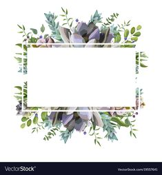Vector card design with Succulent flower plant, berry herb leaf mix watercolor hand drawn beautiful bouquet. Floral Invitation, Wedding Invitation Design, Picture Borders, Watercolor Border, Floral Save The Dates, Floral Border, Flower Backgrounds, Border Design, Flower Frame