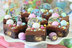 These Malted Milk Chocolate Brownies are ultra-fudgy brownies, packed with malted candies and topped with chocolate frosting and LOTS of fun sprinkles and candies! Perfect for Easter, showers, and parties. They would even work as unicorn brownies! Chocolate Brownie Cake, Chocolate Truffles, Chocolate Brownies, Chocolate Flavors, Fudgy Brownies, Chocolate Frosting, Spring Desserts, Fun Desserts, Best Dessert Recipes