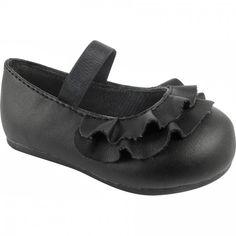 Baby Deer Black Leather-Like Skimmer Walking Shoe with Ruffled Vamp and Elastic Strap