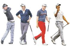 Teeing off with style. From WSJ. From left: Ryo Ishikawa in Callaway; Webb Simpson in Polo Golf; Keegan Bradley in Tommy Hilfiger Golf Apparel; Adam Scott in Uniqlo.