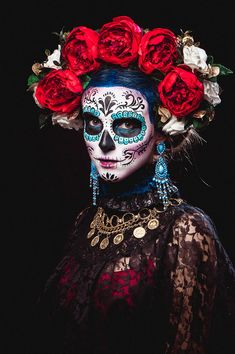 halloween null Halloween nullYou can find Sugar skull costume and more on our website Halloween Makeup Sugar Skull, Sugar Skull Costume, Sugar Skull Makeup, Halloween Makeup Looks, Halloween Stuff, Sugar Skull Face Paint, Sugar Skull Artwork, Skeleton Makeup, Halloween Art