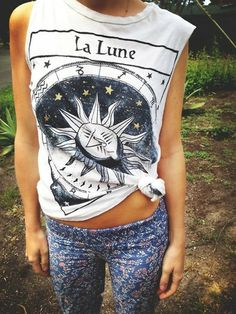 tank top shirt tarot tshirt la lune sun moon pants t-shirt Indie muscle tee tumblr astrological white tribal indian hipster tumblr hippie in...