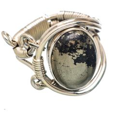 Pyrite In Magnetite (healer's Gold) 925 Sterling Silver Ring Size 9.25 RING781748