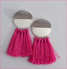 Pink/Silver tassel earrings luxe Boucles d'oreilles Tassel Earrings, Tassels, Pink, Etsy, Fashion, Ears, Unique Jewelry, Lush, Boucle D'oreille