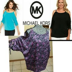 """michael kors chain cold shoulder silky blouse Silky grey and Pink  Never wore cause I'm too short  lol (4'.11"""") Awesome scrunch tie sleeves Michael Kors Tops Blouses"""