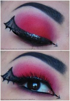 Make up for Witch or Dracula Costume.... Batwing Eyeliner :) Cute!